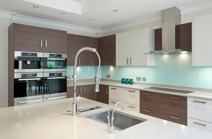 modern kitchen with a commercial faucet